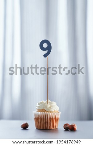 Minimalistic birthday or anniversary concept. Homemade vanilla birthday cupcake with creamy topping and number 9 nine with hazelnuts and bright background. High quality vertical image