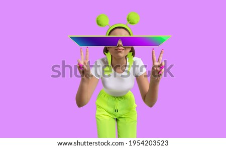 Funny background for a banner with a girl in yellow neon tracksuit and sunglasses.