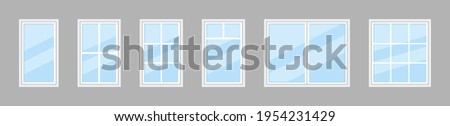 Glass window. Icon of plastic windowpane with frame for house and office. Double windows for balcony. Hung glass for architecture or exterior. wooden frame with windowpane for building. Vector. Royalty-Free Stock Photo #1954231429