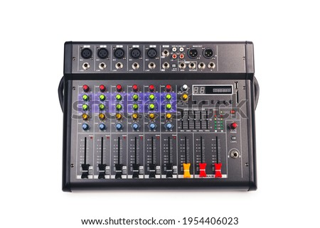 Audio mixing console with clipping path isolated on white background, top view