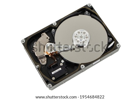Close up inside of computer hard disk drive HDD isolated on white background.