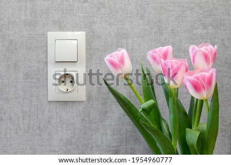 A bouquet of tulips near the wall with an electric light switch and an electrical outlet