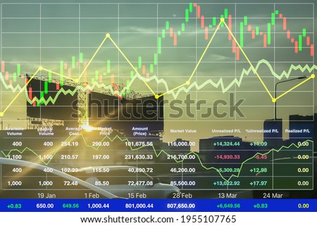 Stock financial index of successful investment on superhighway transportation businesson twilight summer time  with chart and graph on superhighway perspective background in Bangkok Thailand.