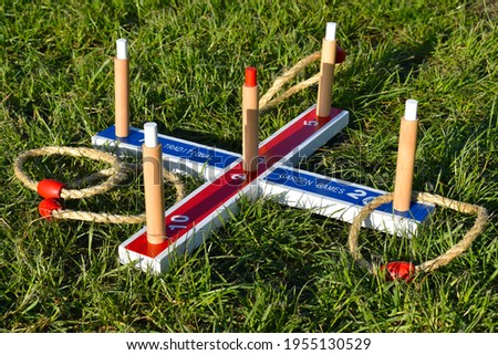 Quoits is a game that makes a great gift and is perfect for taking away on holiday. The pitch length is 6 strides from the start line behind which throwing takes place. The wooden base stands as an x.