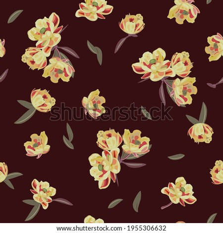 Seamless floral pattern with barberry blossom. On dark background. Royalty-Free Stock Photo #1955306632