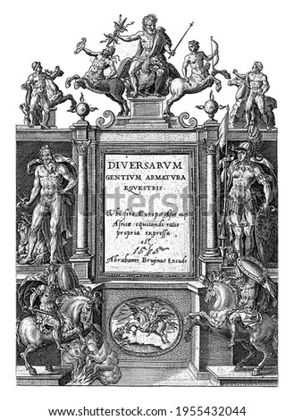 The title of the picture book is in the middle of the print, between two pillars, vintage engraving.