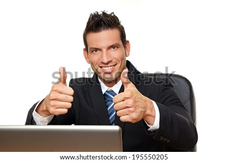 Handsome man in suit at computer shows you thumbs up #195550205