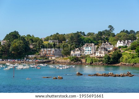 View of the scenic port of Port Manech in Finistère, Brittany, France Royalty-Free Stock Photo #1955691661