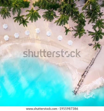 Beach umbrella near the blue ocean Royalty-Free Stock Photo #1955987386