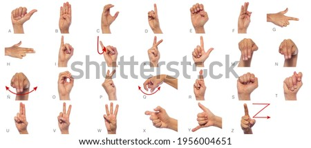 Language of deaf mute hands. Set of pictures of hands and fingers with sign language isolated on white background. Expressiveness asl gestures alphabetic set