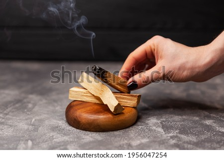 Organic holy tree incense from Latin America. Scattered sticks of Palo Santo tree on grey background. Color photo close-up of natural frankincense. It helps to enhance clarity and concentration
