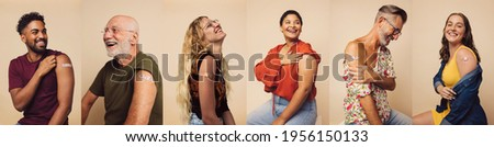 Group of people after getting the covid-19 vaccine, composite shot. Diverse group of men and women with band-aids on arm after receiving immunity vaccine. Royalty-Free Stock Photo #1956150133