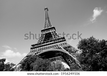 Paris black and white. Paris, France - Eiffel Tower seen from the park. UNESCO World Heritage Site.