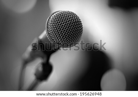 Close up of microphone - black and white #195626948