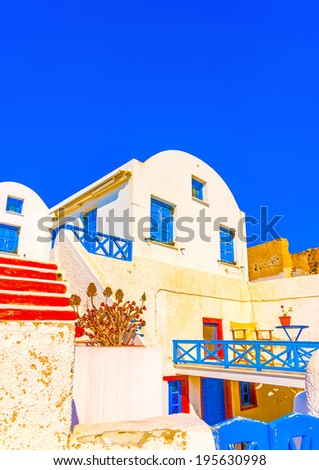 A typical traditional house in Oia the most beautiful village of Santorini island in Greece #195630998
