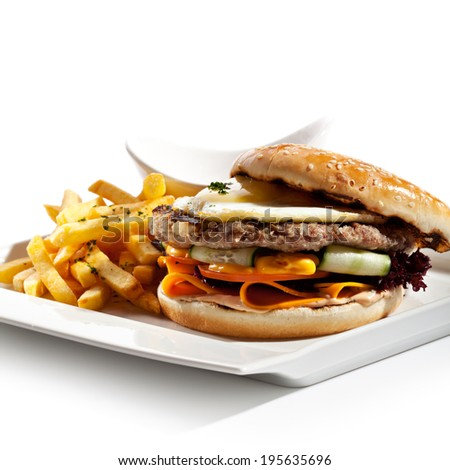 Big Burger with French Fries and Sauce #195635696