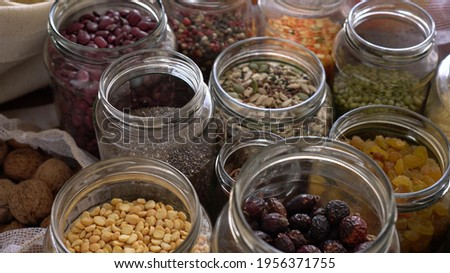 Grocery stock, food reserve. Glass Cereal Jars. Zero Waste Shopping. Shop in Bulk. Buying and Storage Food Package free. Reduce packaging waste. Healthy eating
