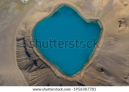 Top view of Viti crater lake northeast of Iceland