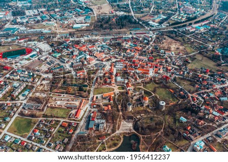 aerial view over the private houses. Royalty-Free Stock Photo #1956412237