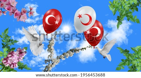 stretch ceiling sky sun, tree, flowers, birds dove and turkish flag balloons