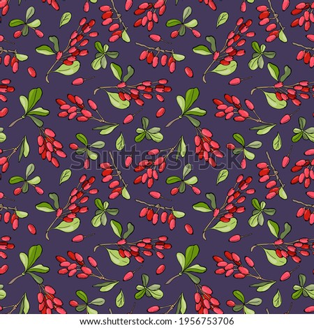 Barberry berries. Hand-drawn seamless pattern on a gray background. Design for fabric, textile, wallpaper, packaging.	  Royalty-Free Stock Photo #1956753706