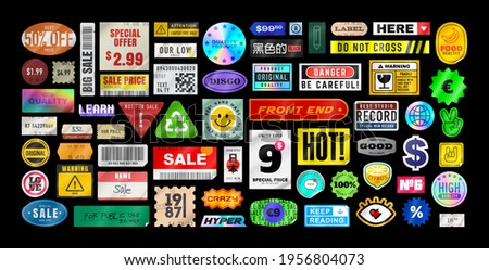 Sticker pack. Price stickers. Peeled Paper Stickers. Price Tag. Isolated on black background Royalty-Free Stock Photo #1956804073