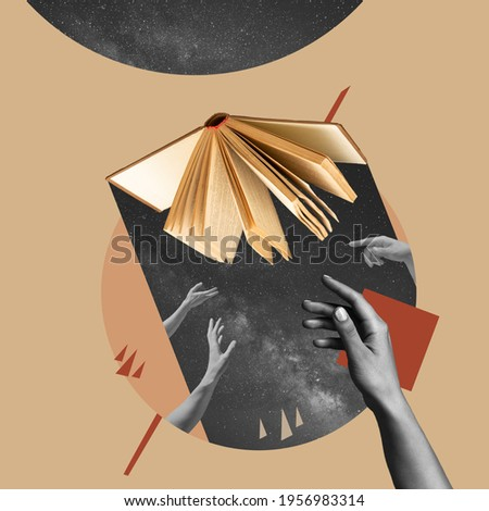 Different hands reaching opened book, mystical. Contemporary art collage, modern design. Aesthetic of hands. Trendy pastel colors. Copyspace for your ad or text. Surreal conceptual poster.