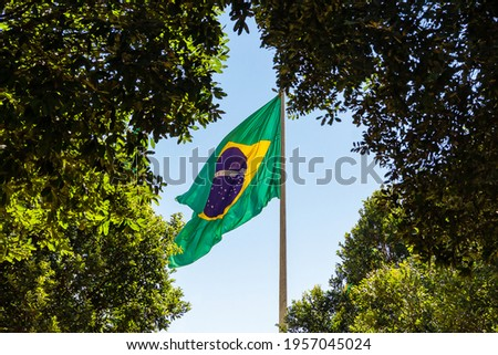GOIANIA GOIAS BRAZIL - APRIL 15 2021:  Brazil's flag. Flag of Brazil between two trees with blue sky in the background. Royalty-Free Stock Photo #1957045024