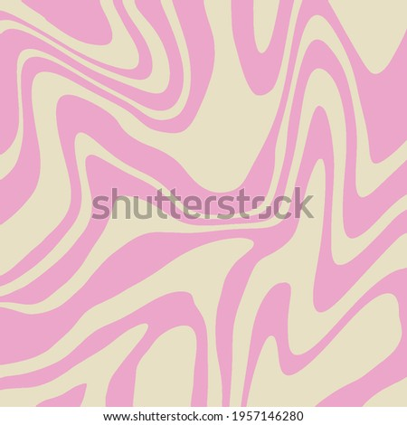 Abstract Retro 70s Trippy Wavy Swirl Pink Vector Background