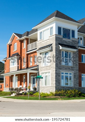 Street with colorful townhomes #195724781