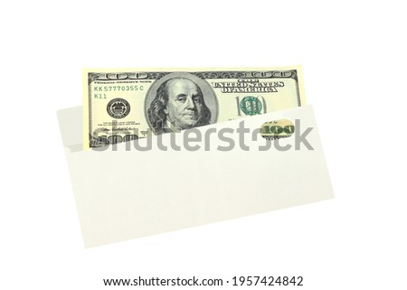 One hundred american dollars in white envelope isolated on white background close up Royalty-Free Stock Photo #1957424842