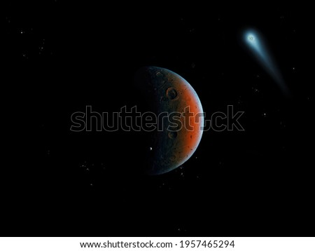 Red planet, covered with craters in space with asteroid and comet. Royalty-Free Stock Photo #1957465294
