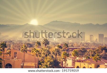 Morning sunrise over Phoenix, Arizona, USA