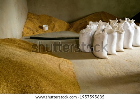 production of combined pelleted animal feed from herbal ingredients. Royalty-Free Stock Photo #1957595635