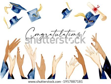 Graduation Clipart, Watercolor Graduation clip art. Grad cap,  Diploma Illustration, Party decorations, School Clipart, University Clipart.