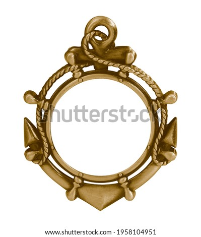 Golden frame (anchor) for paintings, mirrors or photo isolated on white background. Design element with clipping path