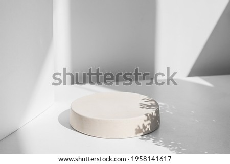Abstract minimal scene with geometrical form. Cylinder podiums in white colors. Abstract background. Scene to show cosmetic podructs. Showcase, display case. 3d render. Royalty-Free Stock Photo #1958141617