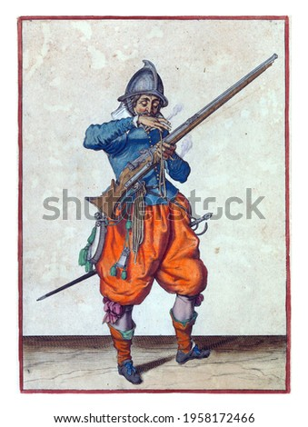 A soldier, full-length, to the right, holding a rudder (a type of firearm) with his left hand. With his right hand he brings a burning wick to his mouth to blow it clean Royalty-Free Stock Photo #1958172466