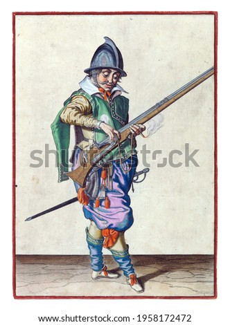 A soldier, full-length, to the right, holding a rudder (a type of firearm) with his left hand. With his right hand he presses a burning fuse on the cock (part of the ignition mechanism) of his rudder Royalty-Free Stock Photo #1958172472