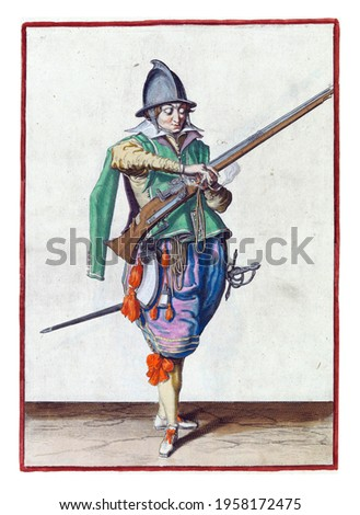 A soldier, full-length, to the right, holding a rudder (a type of firearm) with his left hand. In his left hand, in addition to the rudder, also a burning fuse. He takes this fuse with his right hand Royalty-Free Stock Photo #1958172475