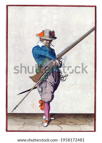A soldier, full-length, to the right, holding a musket (a type of firearm) with his left hand. In his left hand, in addition to the musket, also a furket (musket fork) and a burning fuse Royalty-Free Stock Photo #1958172481