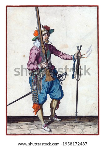 A soldier, full-length, to the right, holding a musket (a certain type of firearm) with his right hand, pointing the barrel up. In his outstretched left hand a burning fuse and a furket Royalty-Free Stock Photo #1958172487