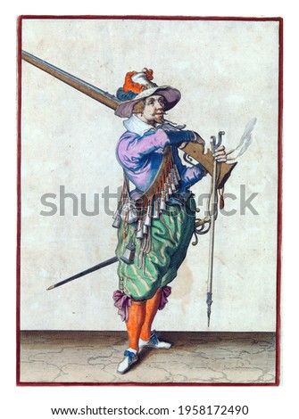 A soldier, full-length, to the right, taking a musket (a type of firearm) from his left shoulder with his right hand. In his left hand, in addition to the butt of the musket, also a furket Royalty-Free Stock Photo #1958172490
