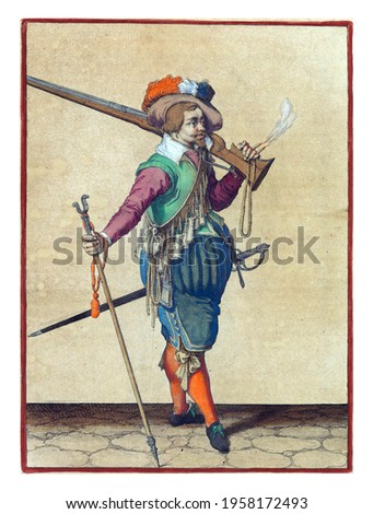 A soldier, full-length, to the right, with a musket (a type of firearm) resting on his left shoulder. In his left hand, besides the butt of the musket, there is also a burning fuse Royalty-Free Stock Photo #1958172493