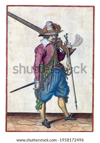 A soldier, full-length, to the right, with a musket (a type of firearm) resting on his left shoulder. In his left hand, in addition to the butt of the musket, also a furket  and a burning fuse Royalty-Free Stock Photo #1958172496