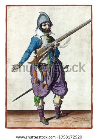 A soldier on watch, full-length, to the right, holding a rudder (a certain type of firearm) with his left hand by his right side, the barrel tilted upwards Royalty-Free Stock Photo #1958172520