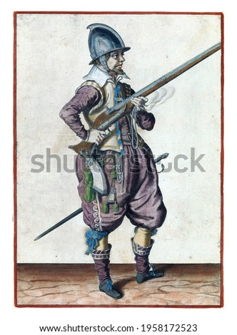 A soldier on guard, full-length, to the right, holding a rudder (a particular type of firearm) with both hands by his right side, his right index finger on the trigger Royalty-Free Stock Photo #1958172523