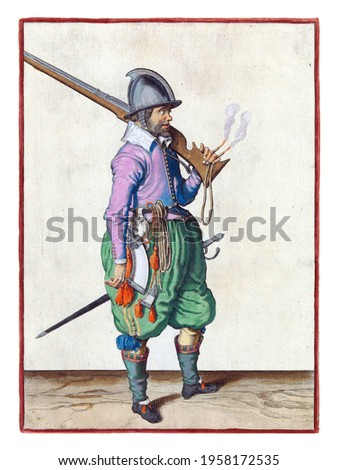 A soldier, full-length, to the right, with a rudder (a type of firearm) resting on his left shoulder. In his left hand, besides the butt of the rudder, also a burning fuse Royalty-Free Stock Photo #1958172535