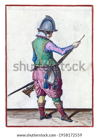 A soldier, full-length, to the right, holding a rudder (a certain type of firearm) by his left thigh with his left hand and his ramrod in the barrel with his right hand to push powder and bullet Royalty-Free Stock Photo #1958172559