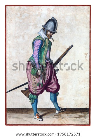 A soldier, full-length, to the right, holding a rudder (a certain type of firearm) with his left hand by his left thigh, the barrel pointing diagonally upwards Royalty-Free Stock Photo #1958172571